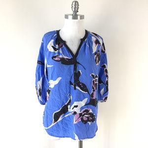 Anthropologie Yumi Kim L Blue Purple Silk blouse